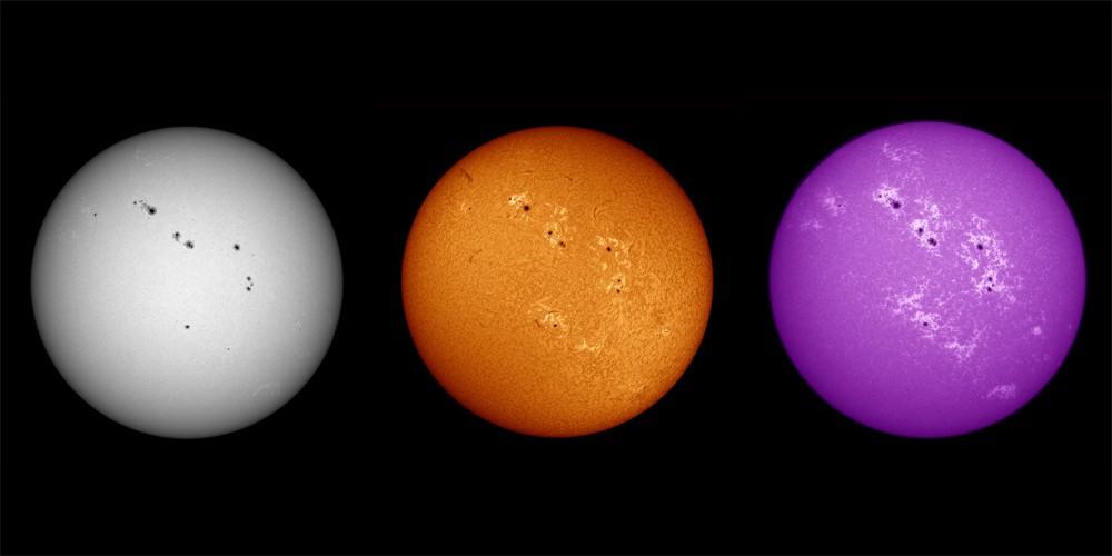 Sonne in drei Wellenlängen